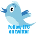 Blue twitter bird with 'Follow ETC on twitter'