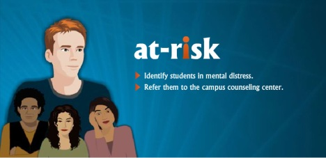 poster with 3 small people in front of 1 taller person and the words: at-risk - identify students in mental distress - refer them to the campus counselling center
