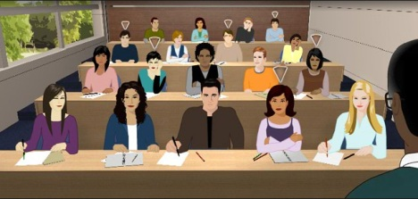 clip-art-like image of a class where students at risk are marked by a white triangle above their heads