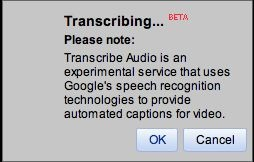 warning that the captions are produced by automatic speech recognition