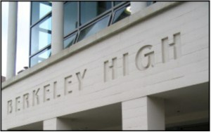 Detail of the school building, with the words Berkeley High
