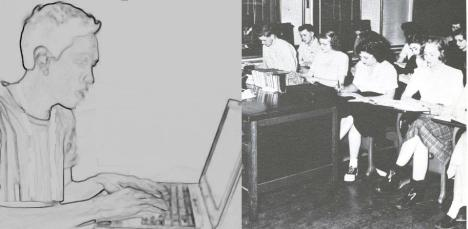 On the left: someone working on a laptop; on the right, a 1940's traditional classroom