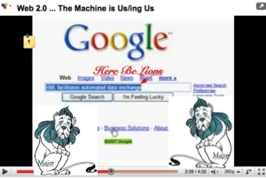 Google search page with, in the search box: XML facilitates data exchange. Below, left and right, the Cowardly Lion from The Wizard of Oz, labeled Major