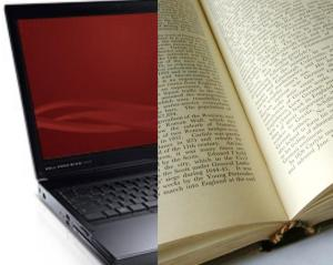 composed image, with an old laptop with floppy slot on the left and history book on the right