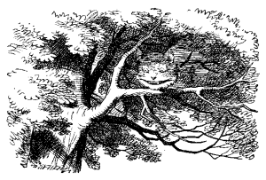 The Cheshire Cat on a tree branch, fading