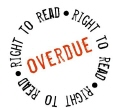 Cercle formed by the words 'right to read' in black, repeated 3x, with 'overdue' in red forming a bar in the middle