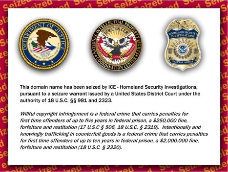 Image of text used without alternative description on the homepage of the seized sites