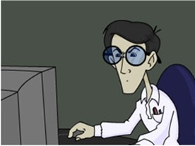 Very thin man with big head and huge blue-tinted specs, squint-eyed, looking at a 20th c. computer monitor