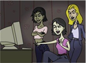 3 young women, nastily laughing at a 20th c. computer monitor