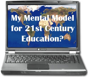 laptop sporting a floppy drive; on the screen: My Mental Model for 21st Century Education?