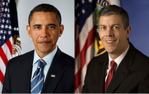official pictures of B. Obama and A. Duncan