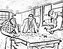 line picture (edited photo): an instructor and 2 apprentices in a woodwork worshop