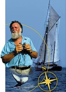Bearded sailor holding binoculars, sailing boat, tale of a whale and compass