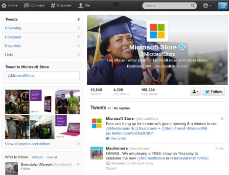 Microsoft Store Twitter page.
