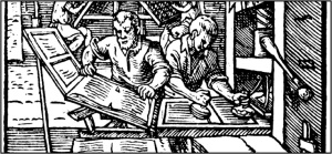 Johannes Gutenberg invented the printing press and independently developed a movable type system ca. 1450.