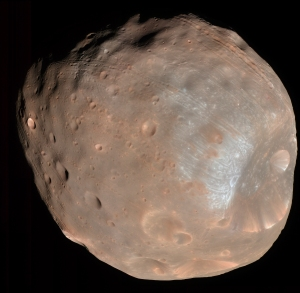 Phobos, Mars's larger and closer moon. Click to enlarge.