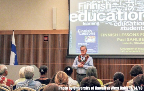 Pasi Sahlberg at the University of Hawaii at West Oahu on 11/14/13.