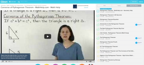 Glean screenshot of video and alternate videos on Pythagorean Theorem.