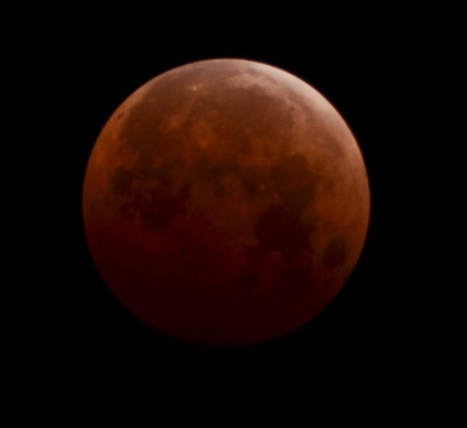 Blood red moon taken in Honolulu on 10/8/14 at 1:28am. Nikon D5100, f5.6, 1/3 sec., ISO 250, 300mm.