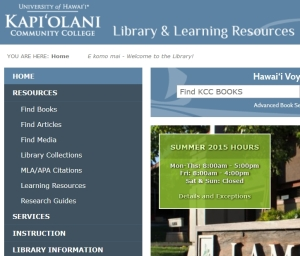 Library's main webpage.