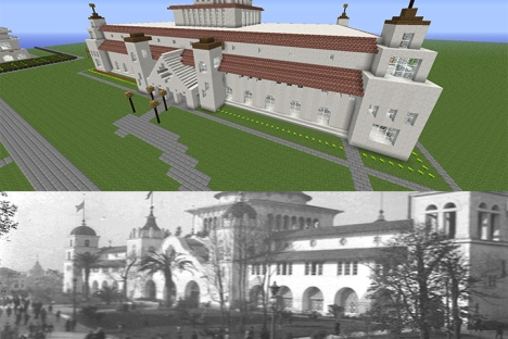 Screen captures from the Columbian Exposition recreated in MineCraft by Catherine Cook's 2014-15 5th grade class.
